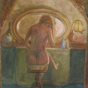 FEMME ASSISE DEVANT sa COIFFEUSE ; huile ; 45x55cm