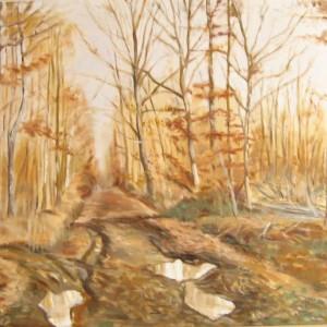 LES FLAQUES DANS LE HAYON FORESTIER ; huile ; 50x73cm