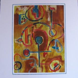 ANCETRES du DESERT ; pastel gras et aquarelle ; 24x32cm