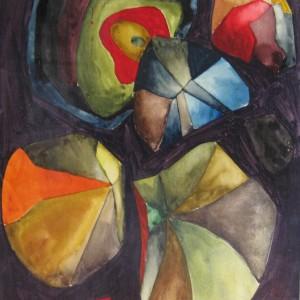 Les IDEES GONFLENT et S'ENVOLENT ; aquarelle vernie ; 24x32cm