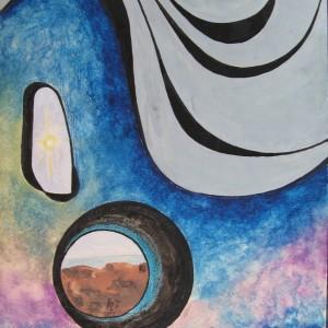 L'ESPOIR VISIBLE . pastel gras et aquarelle ; 30x42cm