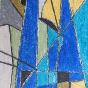 URBANISATION ASCENDANTE . pastel gras ; 30x42cm