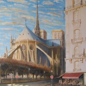 LE CHEVET ENSOLEILLE de NOTRE DAME de PARIS ; huile ; 60x81cm