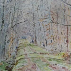 L'ALLEE DANS LE SOUS BOIS ; aquarelle ; 30 x 40