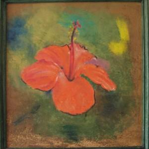 L'AMARYLLIS ; pastel gras ; 32.5x35cm