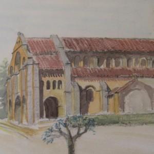 L'EGLISE DE CHATEL MONTAGNE ; aquarelle ; 24x34cm