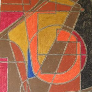 LE J INVERSE ; pastel gras ; 50x65cm
