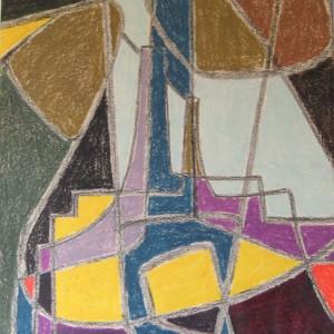 TENTATIVES D'ESPOIR . pastel gras ; 50x65cm