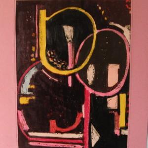 LES OVES EN GERME ; pastel gras et gouache vernis ; 24x31cm