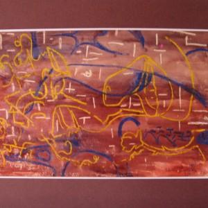 LE LANGAGE SINGULIER ; pastel gras et gouache vernis ; 20x30cm