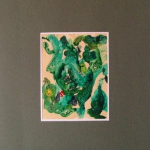 LE VERT CHLORO ACTIF ; gouache vernie ; 12.5x16cm ;