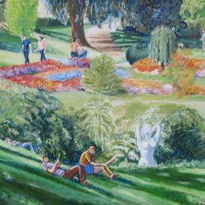 Le JARDIN LECOQ à CLERMONT FERRAND ; huile ; 81x100cm