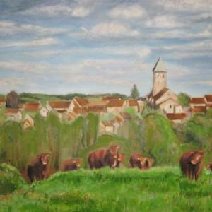 LE VILLAGE BOURBONNAIS ; huile ; 54x73cm