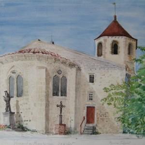 L'EGLISE DE VERNEUIL EN BOURBONNAIS ; aquarelle ; 44x61cm