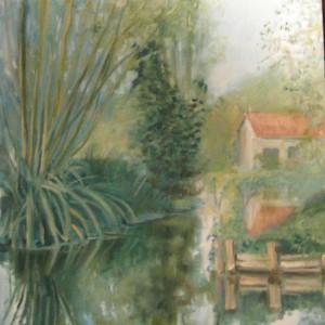 LA MAISON DANS LE MARAIS . huile ; 54x73cm