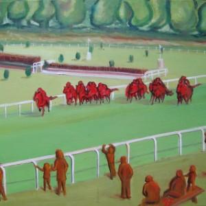 Des chevaux et des hommes ; huile ; 50x73cm