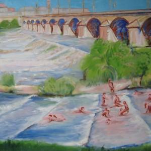 Eté 2015 au pont Régemortes ; huile ; 60x81cm