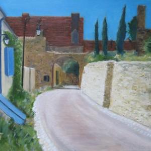Rue à Verneuil en Bourbonnais, huile; 50x60cm