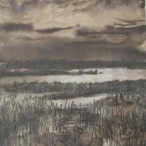 CLAIR DE LUNE SUR L'ETANG ; pastel gras et aquarelle ; 21x29cm