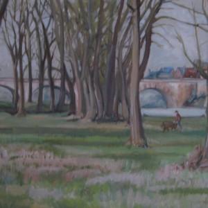 LA RIVE BOISEE EN AMONT DU PONT ; huile ; 54x73cm