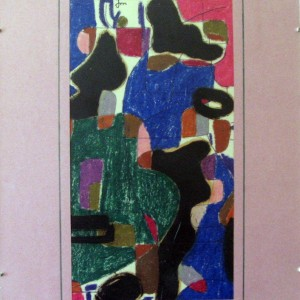 IMBRICATION ; pastel gras et aquarelle  ; 18x32cm