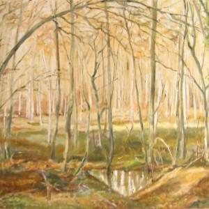 LA MARE dans le SOUS-BOIS ; huile ; 54x73cm