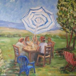 LA TABLE BUCOLIQUE ; huile ; 54x73cm