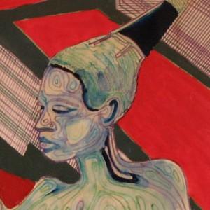 L'AFRICAINE au CHIGNON ; feutres et gouache vernis ; 40x50cm
