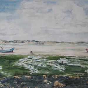Bateaux et ramasseurs de coquillages à marée basse ; aquarelle ; 40x60cm