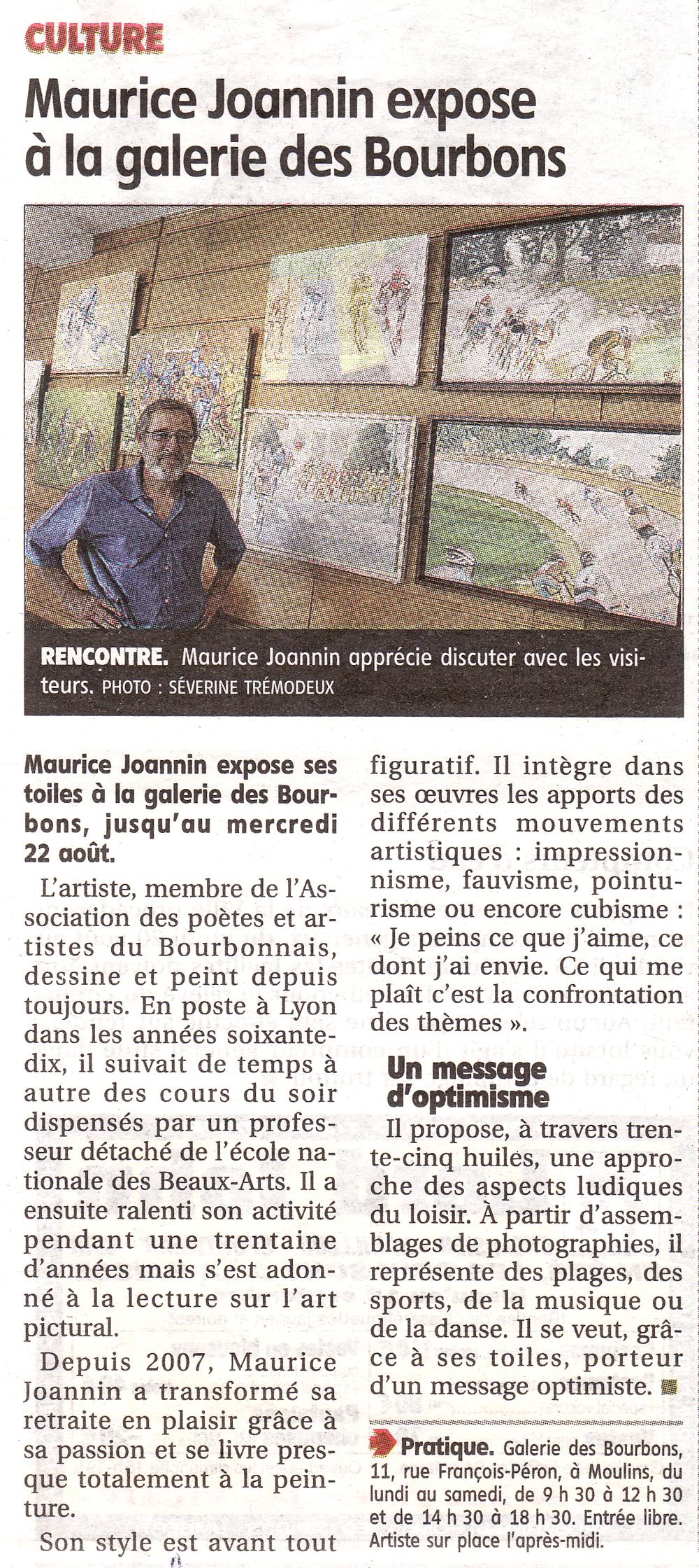 Exposition à la galerie des Bourbons de Moulins du 10août au 22 août 2012