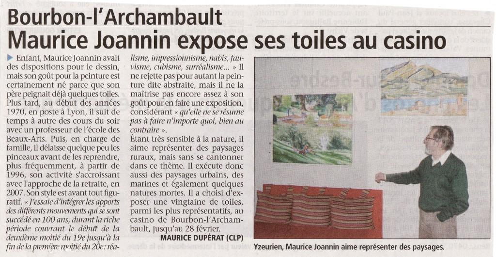 Exposition de Maurice Joannin au casino de Bourbon L'Archambault du 11 février au 28 février 2013