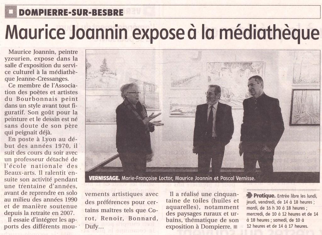 Exposition de Maurice Joannin - salle d'exposition de la mediathèque de Dompierre janvier février 2011