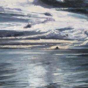 LE MONT ST MICHEL AU LOIN LE SOIR ; aquarelle gouachée ; 40x60cm