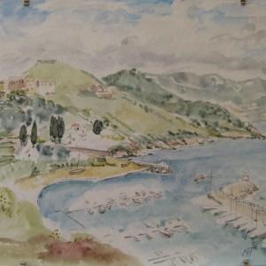 LE PORT DE CARGESE EN CORSE ; aquarelle ; 30x40cm