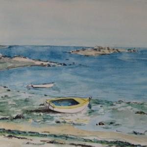 LA BARQUE JAUNE VERS ST POL DE LEON ; aquarelle ; 21x29cm