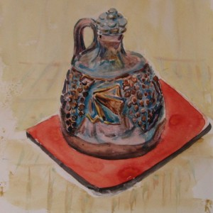 LE PETIT POT EN FAIENCE ; aquarelle ; 30x40cm