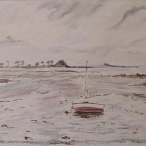 LE VOILIER SUR LE SABLE ; aquarelle ; 21x28cm