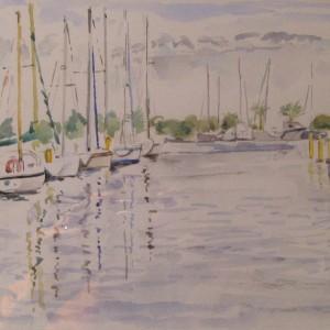LE PORT DE PLAISANCE A ST CYPRIEN ; aquarelle ; 21x29cm