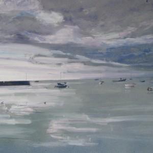 LA DIGUE DE L'EPI PAR TEMPS NUAGEUX ; aquarelle ; 40x60cm