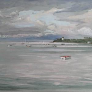 LE MOULIN DE ST MEDOIR DES ONDES VERS CANCALE ; aquarelle ; 40x60cm