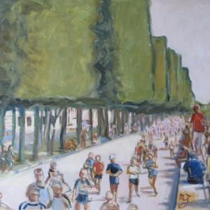 LE MARATHON de PARIS ; huile ; 50x73cm