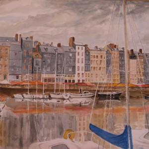 LE PORT d'HONFLEUR ; aquarelle ; 50x70cm