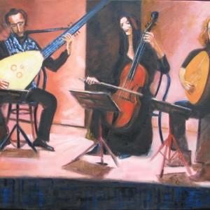 LE TRIO MUSICAL ; huile ; 60x92cm