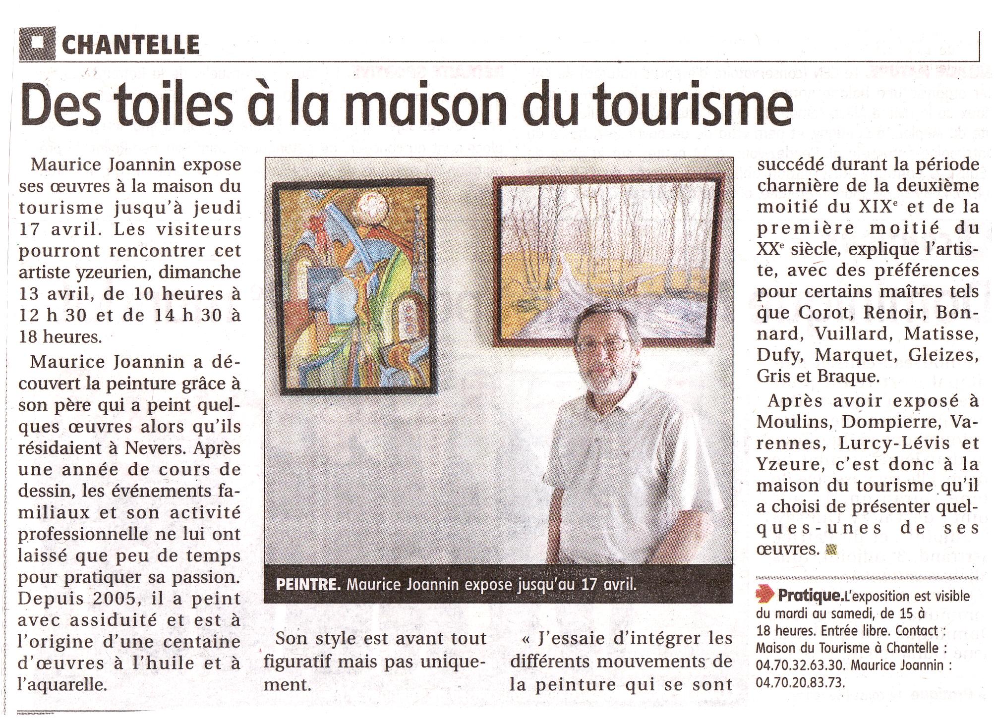 maison du tourisme à Chantelle -exposition de Maurice Joannin -paysages bourbonnais du 01 avril au 17 avril 2014