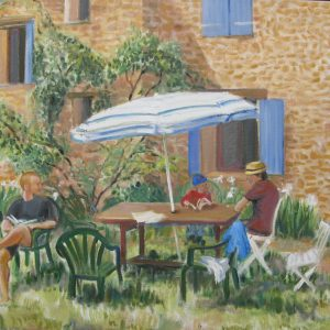 Lectures champêtres ; huile ; 50x65cm