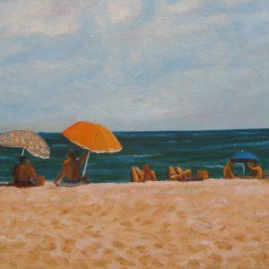 Farniente devant la mer ; huile ; 46x65cm