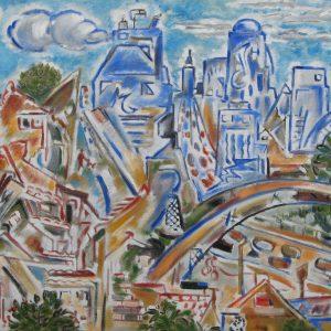 Complexe urbain ; huile ; 50x65cm