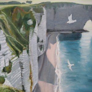 vue sur la falaise d'Etretat ; huile ; 46 x 65cm