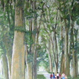 promenade en famille sous la voute arborée ; huile ; 50x73cm