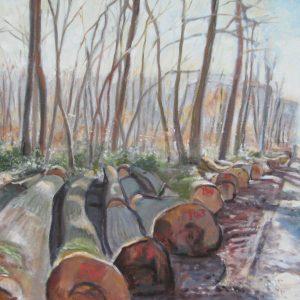 LES ARBRES ABATTUS ; huile ; 54x73cm